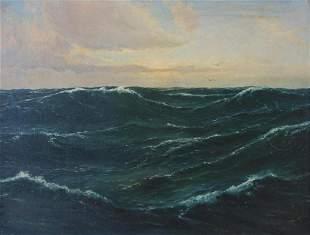 H. Nansen Seascape, Oil on Board