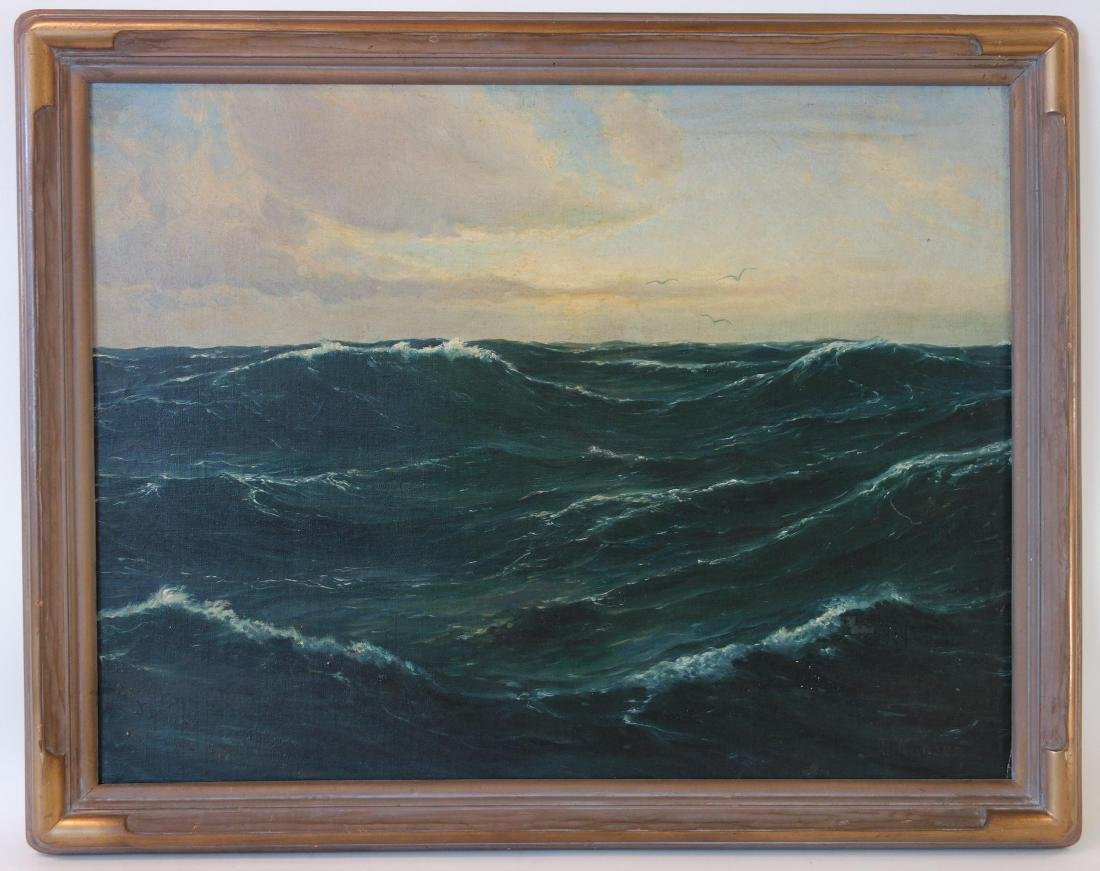 H. Nansen Seascape, Oil on Board - 2