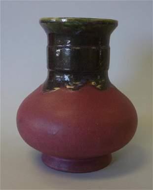 Large Fulper Pottery Vase, Flambe Drip Glaze