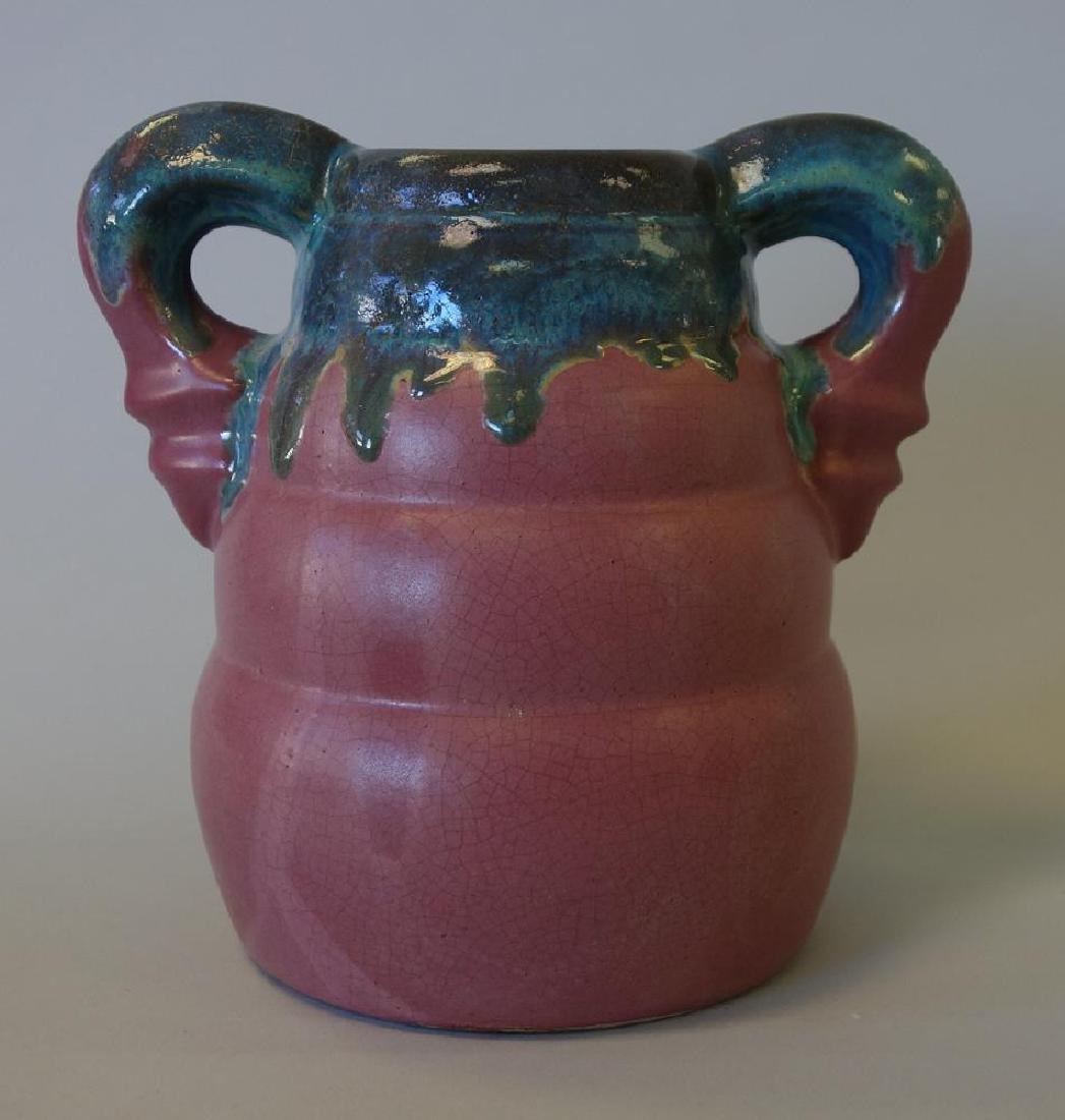 Fulper Pottery Handled Vase, Flambe Drip Glaze