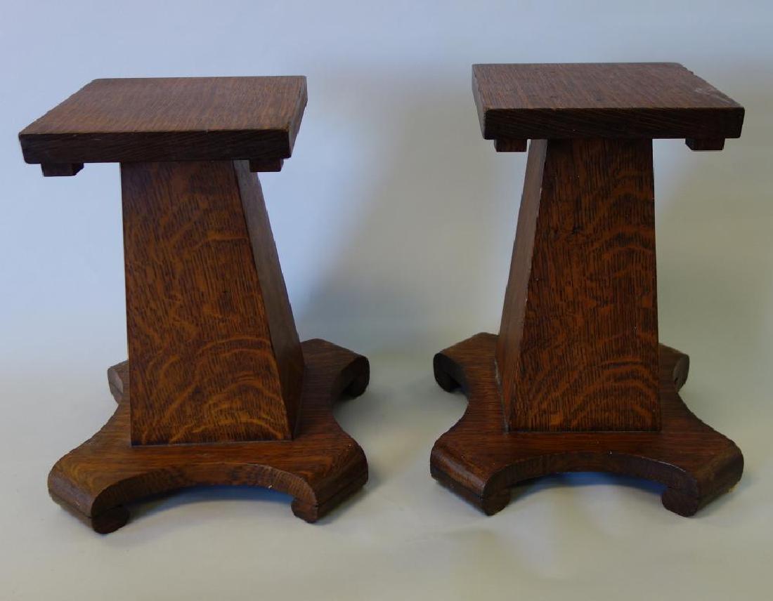 Oak Arts & Crafts Pedestal Stands, Diminutive Size
