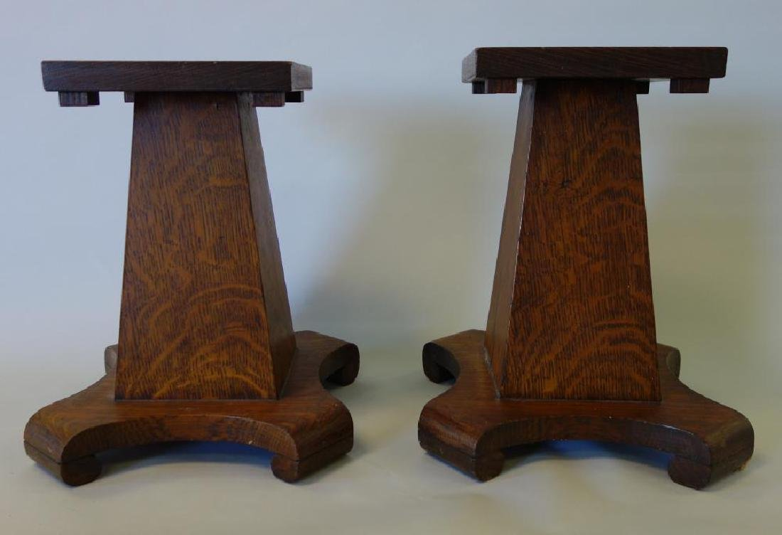 Oak Arts & Crafts Pedestal Stands, Diminutive Size - 2