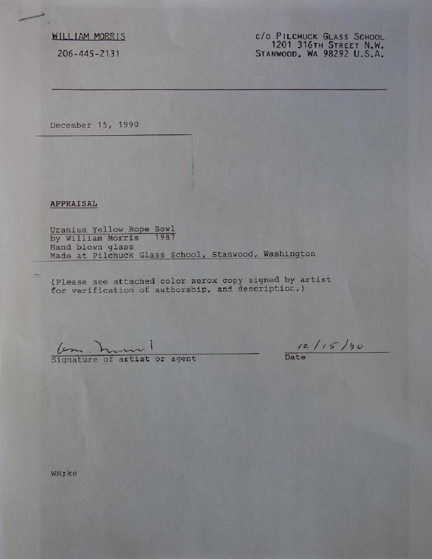 William Morris (b-1957) Uranium Yellow Rope Bowl - 6