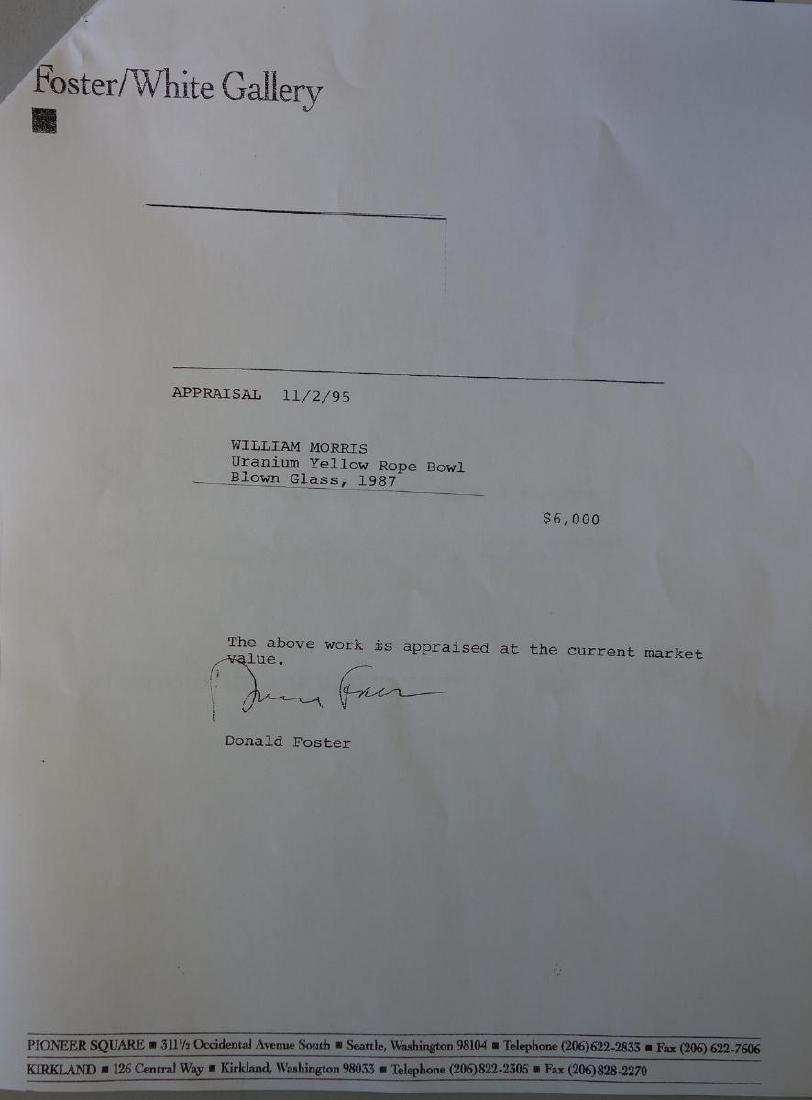William Morris (b-1957) Uranium Yellow Rope Bowl - 8