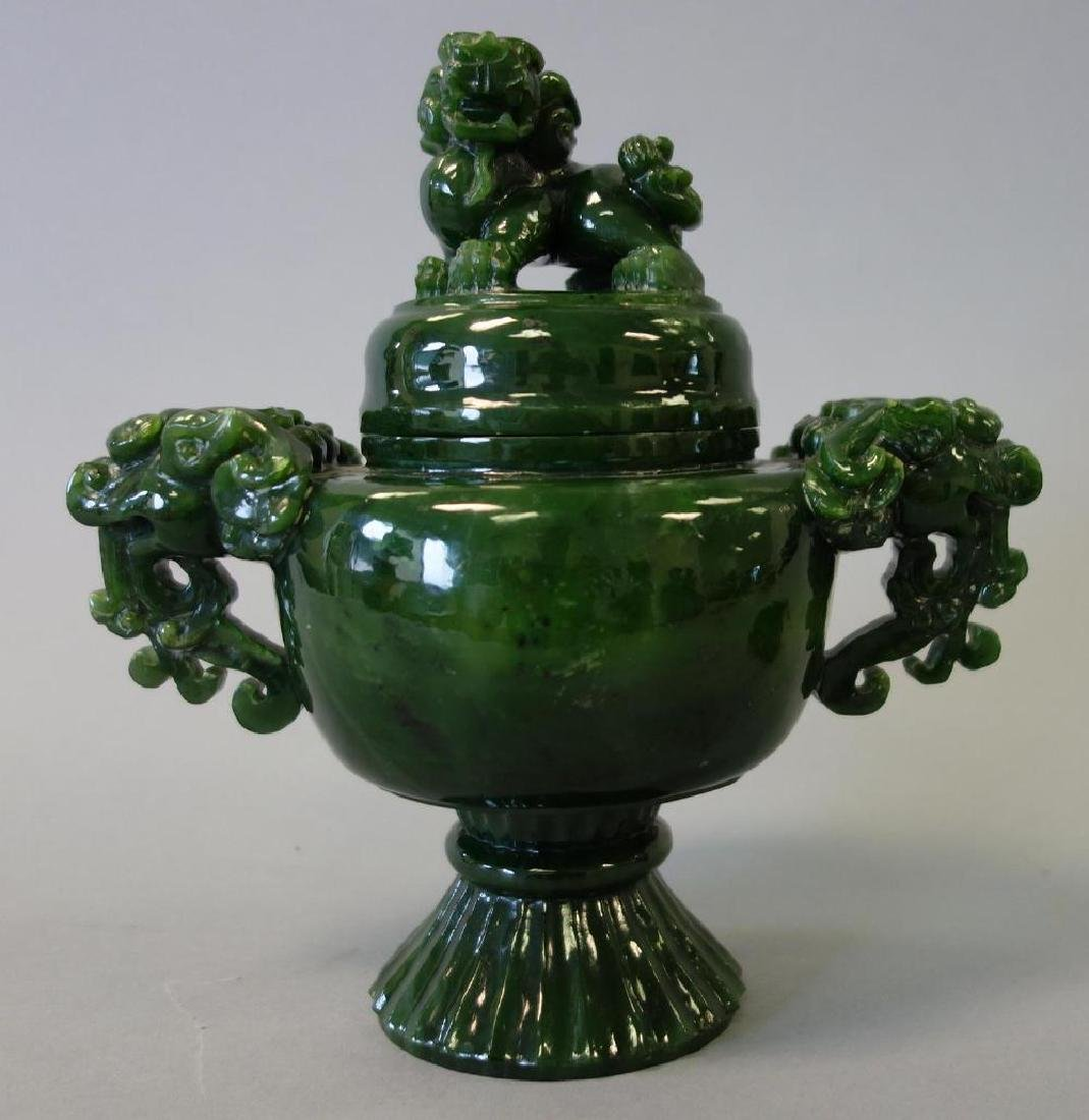 Chinese Carved Spinach Jade Censer & Cover