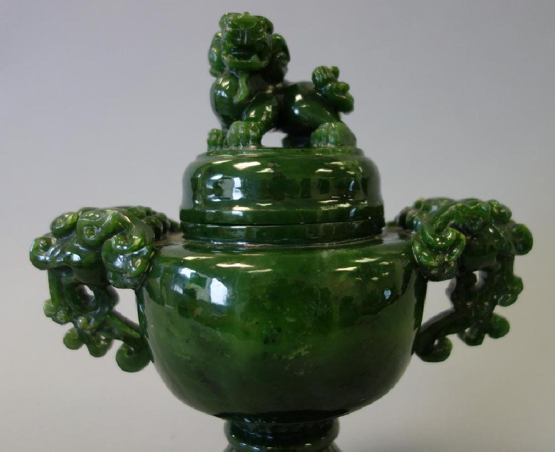 Chinese Carved Spinach Jade Censer & Cover - 2