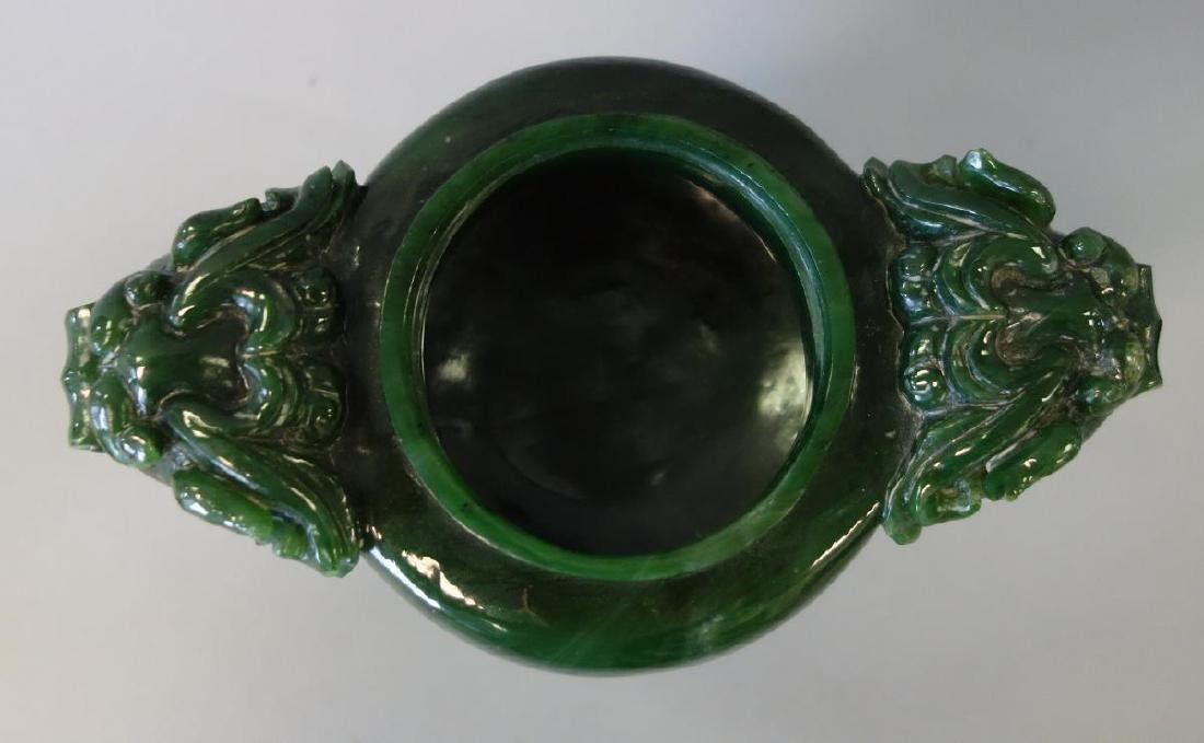 Chinese Carved Spinach Jade Censer & Cover - 3