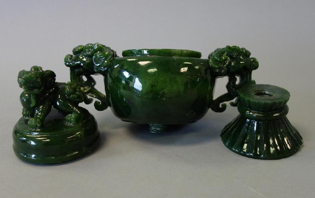 Chinese Carved Spinach Jade Censer & Cover - 4