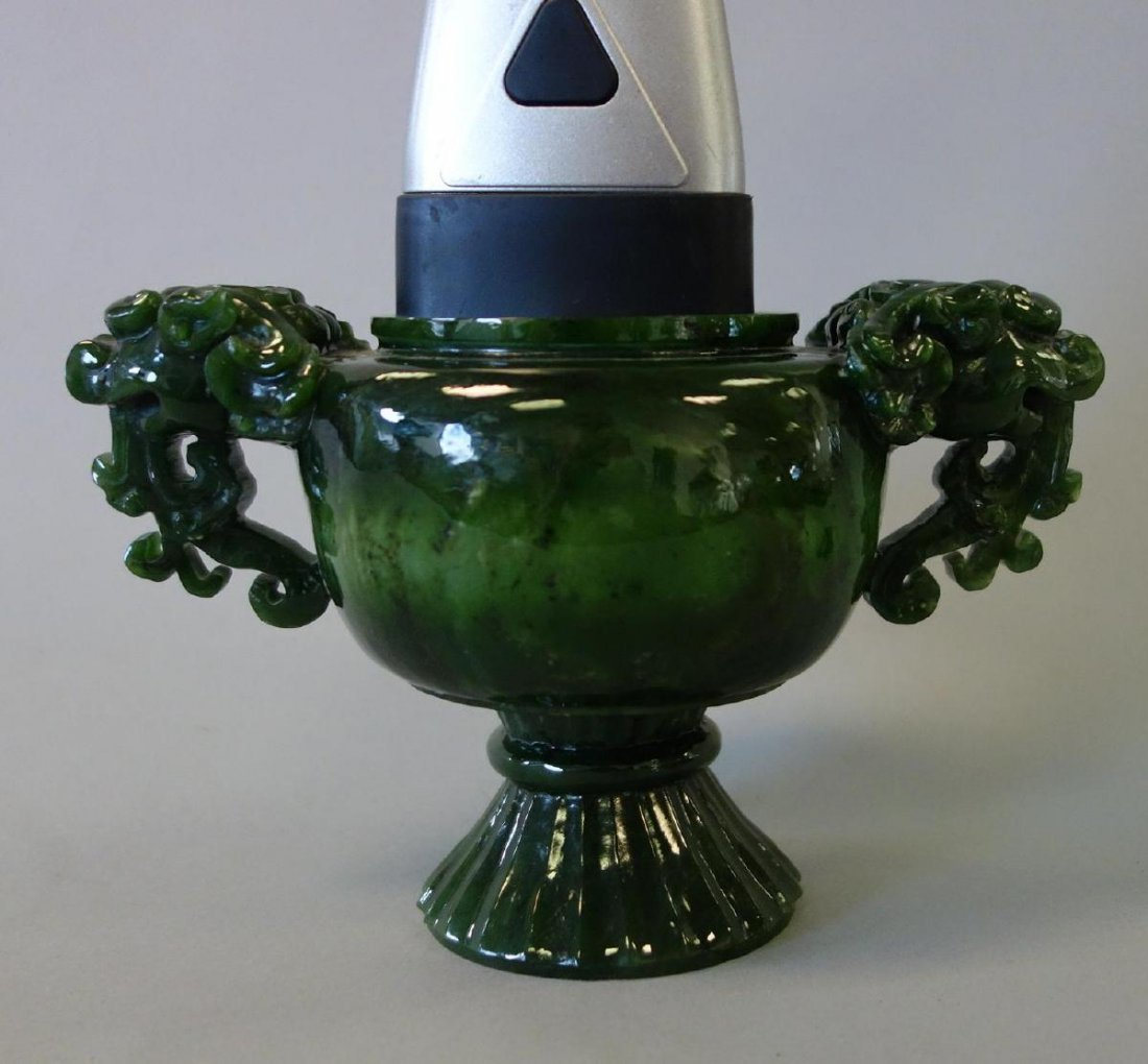 Chinese Carved Spinach Jade Censer & Cover - 7