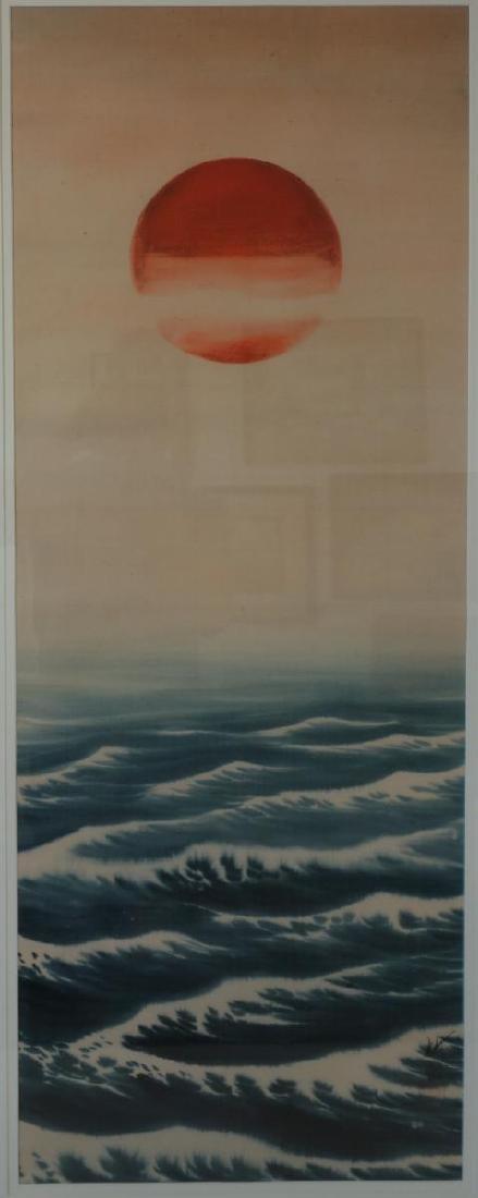Japanese Painting on Silk, Rising Sun, Signed