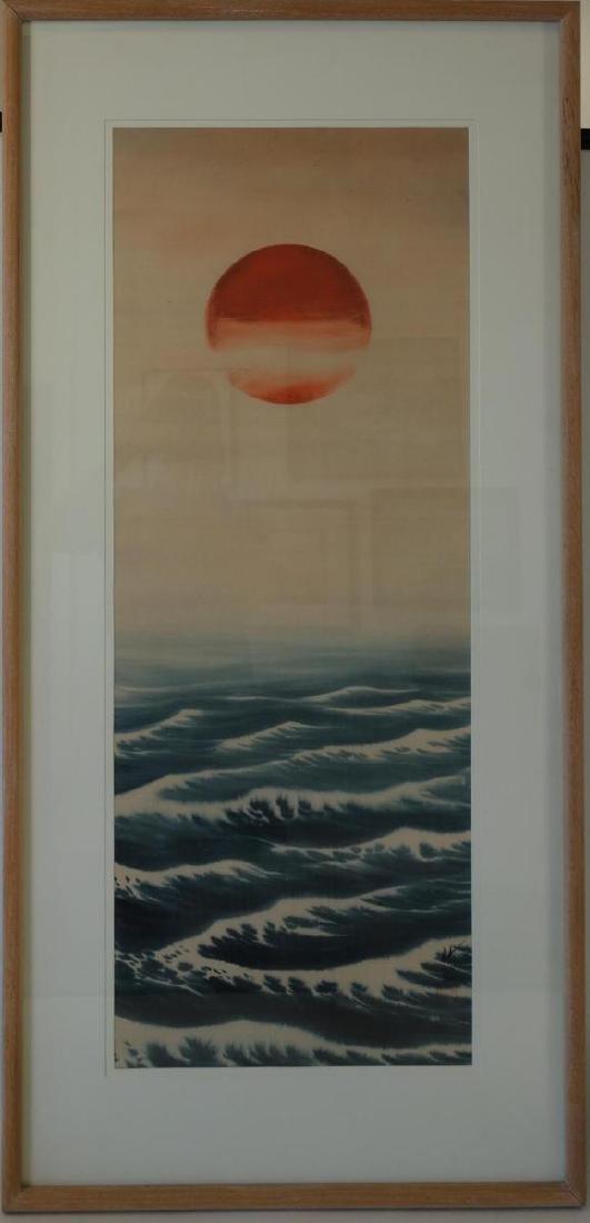 Japanese Painting on Silk, Rising Sun, Signed - 2