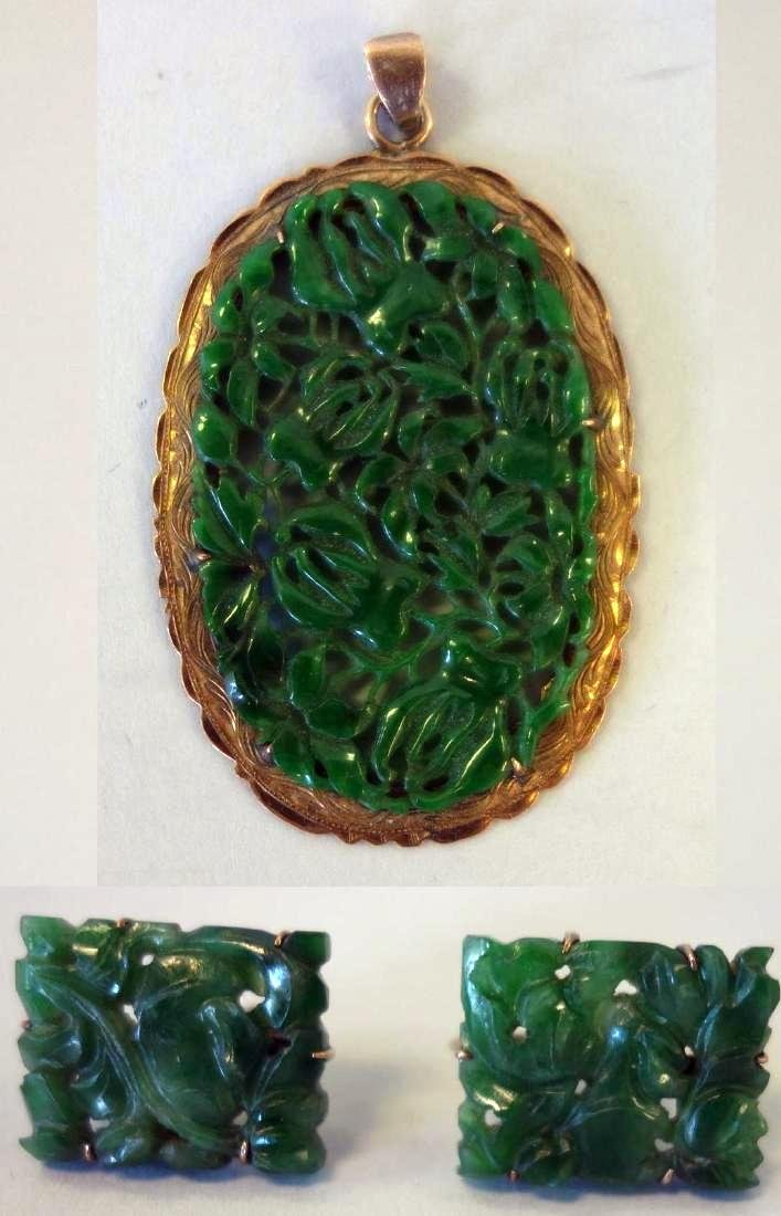 Chinese Spinach Jade Pendant / Plaque & Earrings
