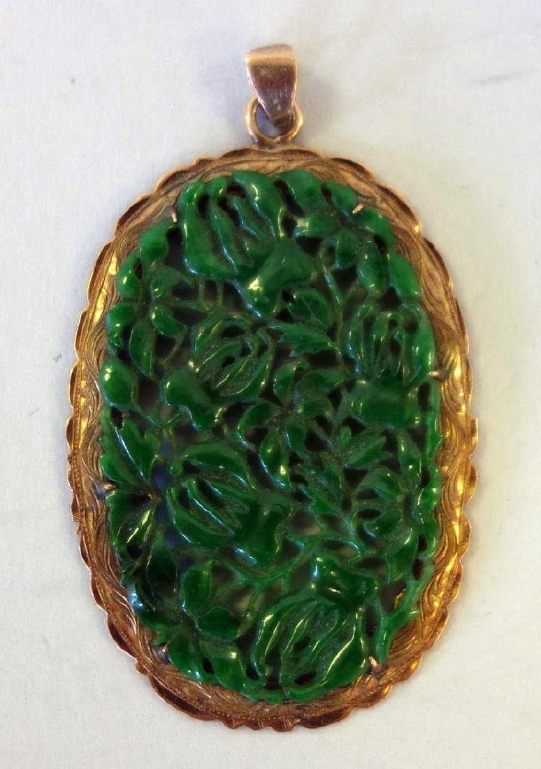 Chinese Spinach Jade Pendant / Plaque & Earrings - 2