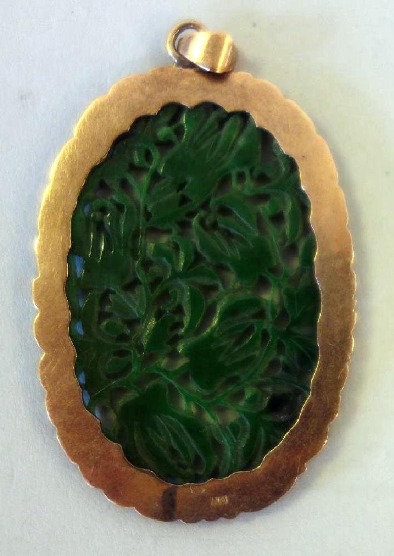Chinese Spinach Jade Pendant / Plaque & Earrings - 3