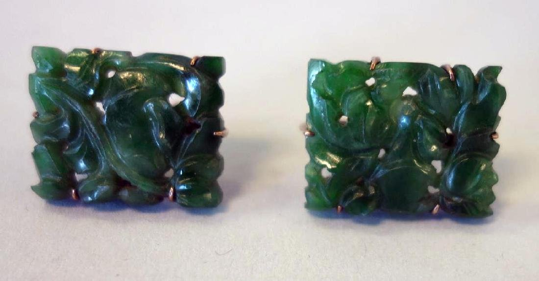 Chinese Spinach Jade Pendant / Plaque & Earrings - 4