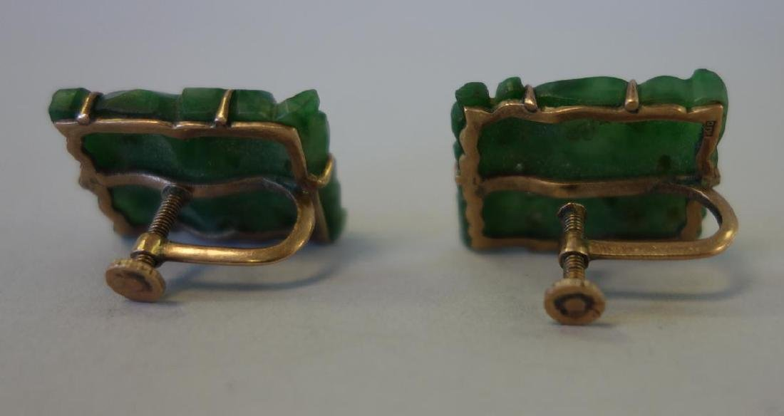Chinese Spinach Jade Pendant / Plaque & Earrings - 5
