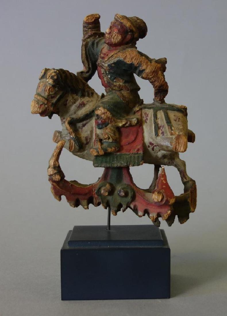 19thc Japanese Carved Wood Samurai on Horseback