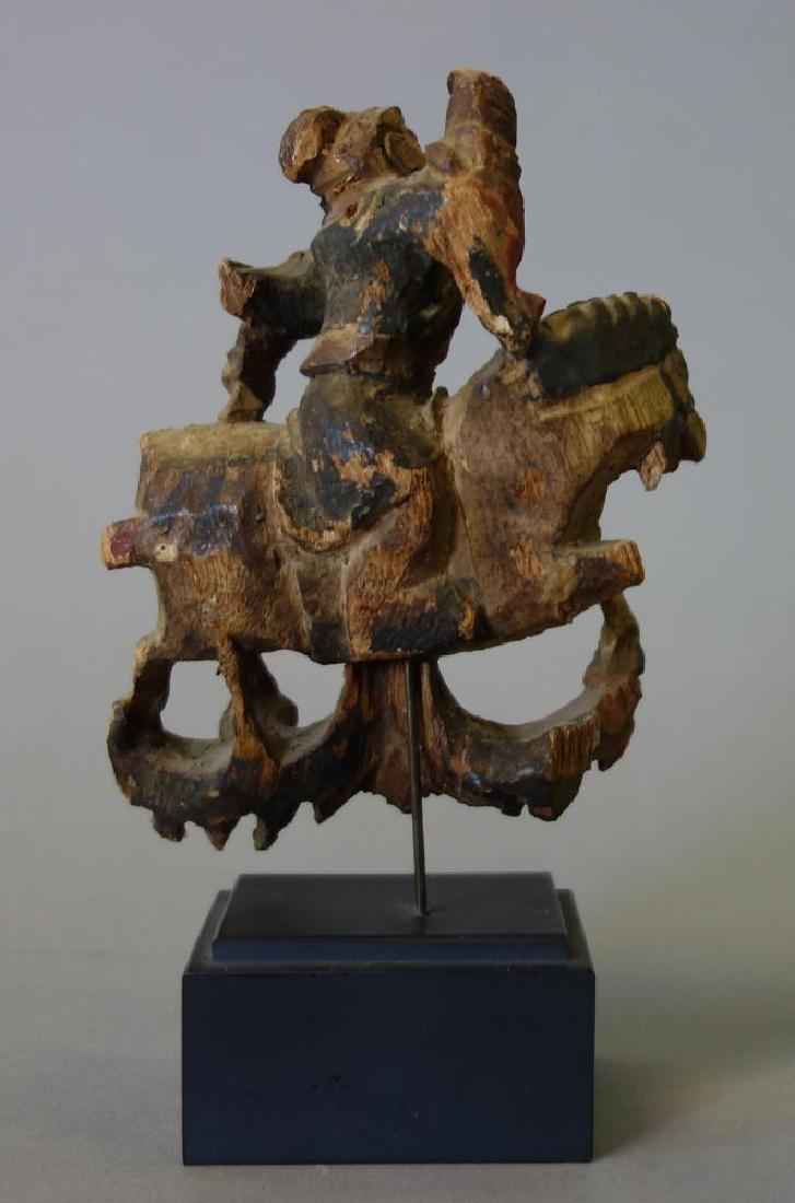 19thc Japanese Carved Wood Samurai on Horseback - 2