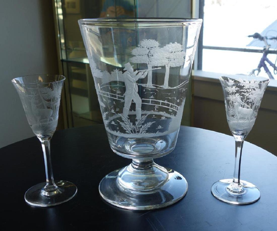 Etched Glass Vase & 2 Etched Glass Wine Goblets