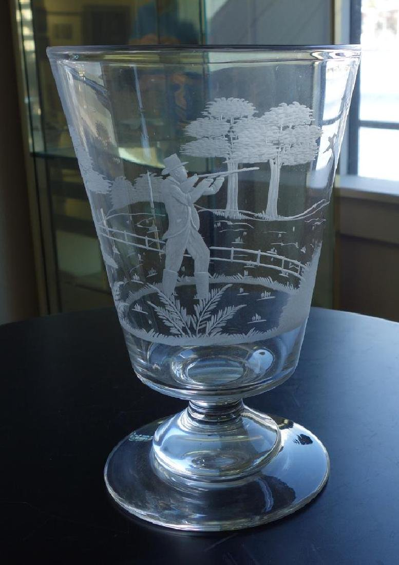 Etched Glass Vase & 2 Etched Glass Wine Goblets - 2