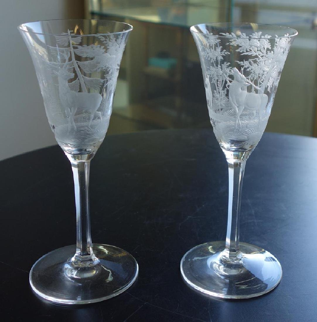 Etched Glass Vase & 2 Etched Glass Wine Goblets - 3