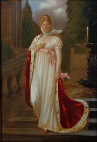19thc Queen Louise of Prussa Portrait on Panel