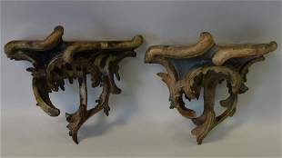 18thc Rococo Carved & Painted Wall Brackets