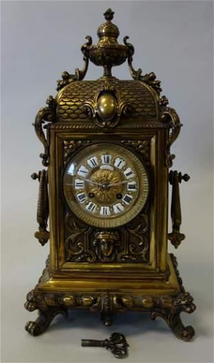 Lambert & Levy French Bronze Mantel Clock, H & F
