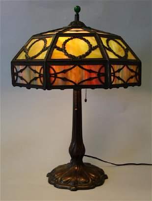 Arts & Crafts Multi-Colored Slag Glass Table Lamp