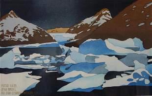 Byron Birdsall (b-1937) Portage Glacier Watercolor
