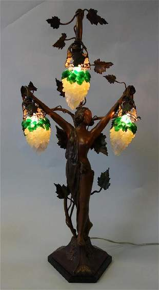 Art Nouveau Figural Lamp & Glass Leaf Shades