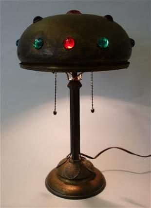 Art Nouveau Brass Lamp w/ Glass Gems