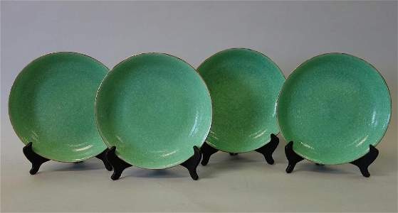 4 Chinese Apple Green Porcelain Dishes, Stilwell