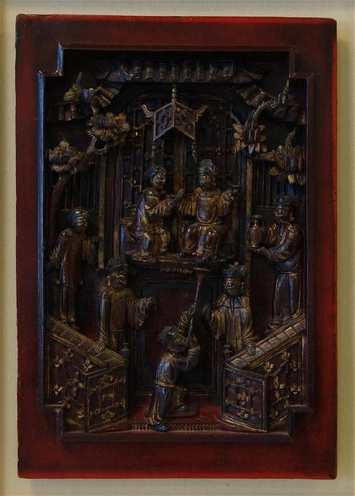 19thc Fine Chinese Carved Wood Panel