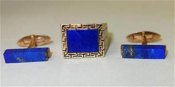 Mens 14K Gold  Lapis Ring  Lapis Cufflinks
