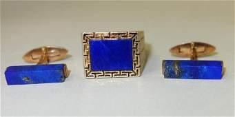 Men's 14K Gold & Lapis Ring + Lapis Cufflinks