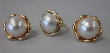 14K Gold Mabe Pearl  Diamond Ring  Earrings