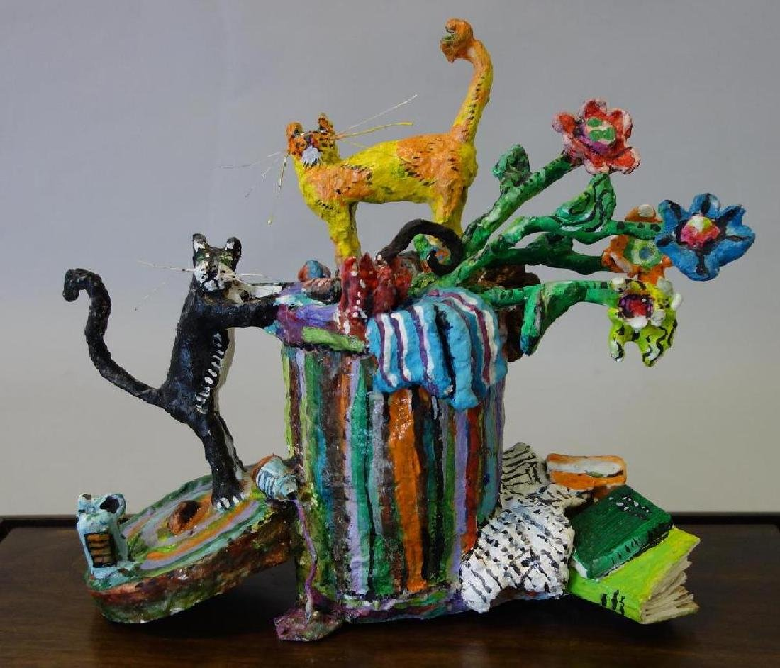 William H Stevens, Papier Mache Cat Sculpture