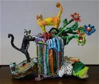 William H Stevens Papier Mache Cat Sculpture
