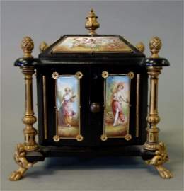 Austrian Enamel & Ebonized Wood Miniature Cabinet