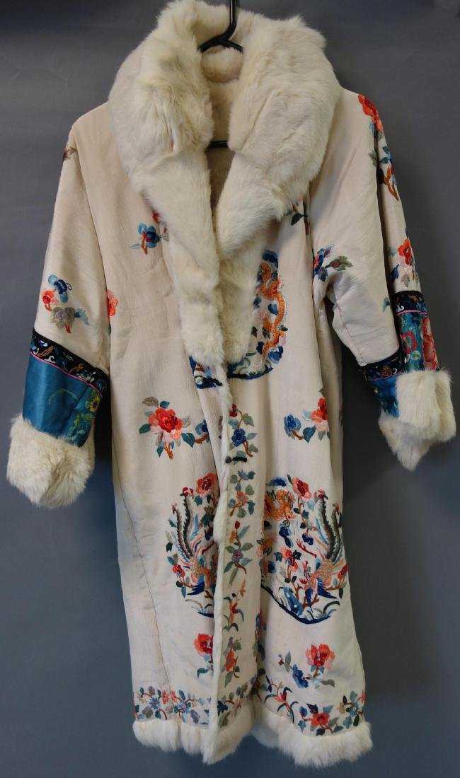 Chinese Embroidered Fur Trimmed Evening Coat
