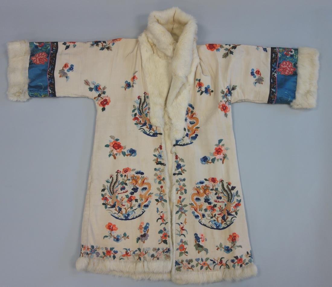 Chinese Embroidered Fur Trimmed Evening Coat - 2
