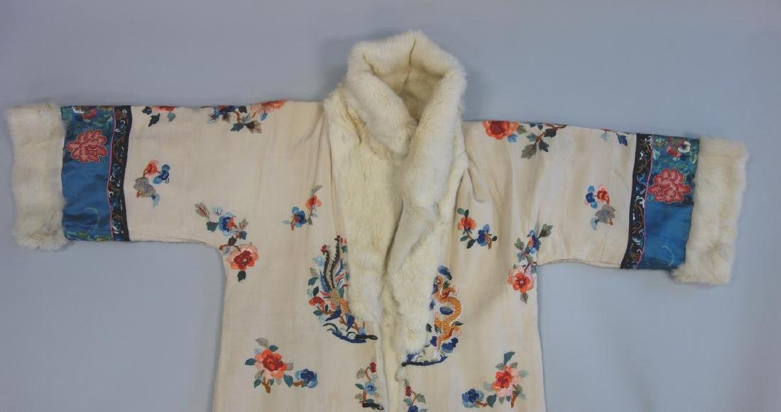 Chinese Embroidered Fur Trimmed Evening Coat - 3