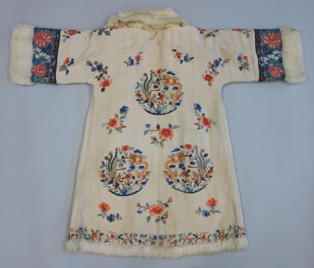 Chinese Embroidered Fur Trimmed Evening Coat - 4