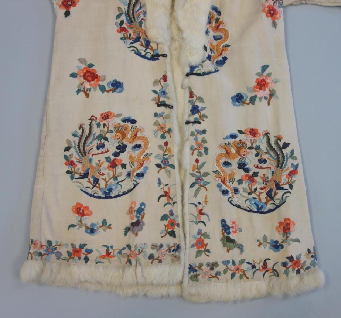 Chinese Embroidered Fur Trimmed Evening Coat - 5
