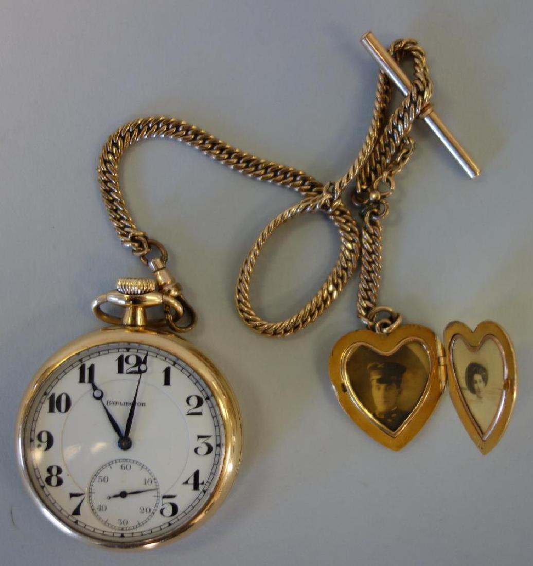 Burlington Gold Filled Pocket Watch, Elk Motif +