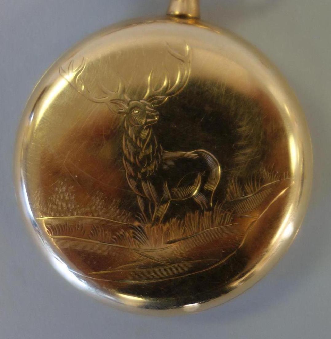 Burlington Gold Filled Pocket Watch, Elk Motif + - 2
