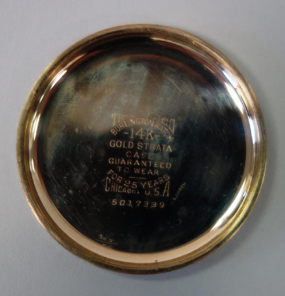 Burlington Gold Filled Pocket Watch, Elk Motif + - 5