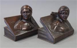 Jennings Bros Bronze Bookends, Dante & Beatrice