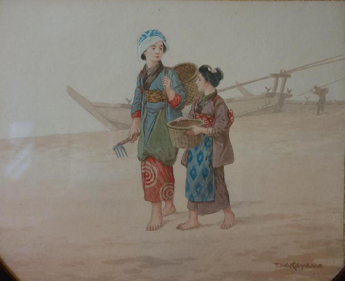 Tadashi Nakayama (b-1927) Watercolor, Clamming - 2